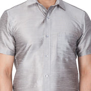 Men's Cotton Art Silk Solid Ethnic Shirt in Grey