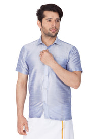 Men's Cotton Art Silk Solid Ethnic Shirt in Light Blue