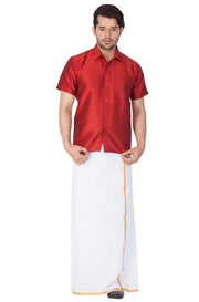 Men's Cotton Art Silk Solid Ethnic Shirt in Maroon