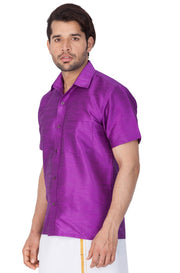 Men's Cotton Art Silk Solid Ethnic Shirt in Purple