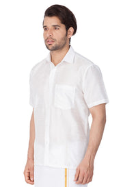 Men's Cotton Art Silk Solid Ethnic Shirt in White