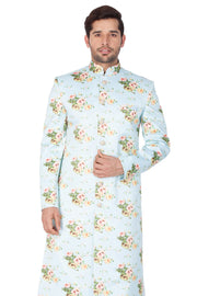 Men's Cotton Art Silk Sherwani Only Top in Light Green