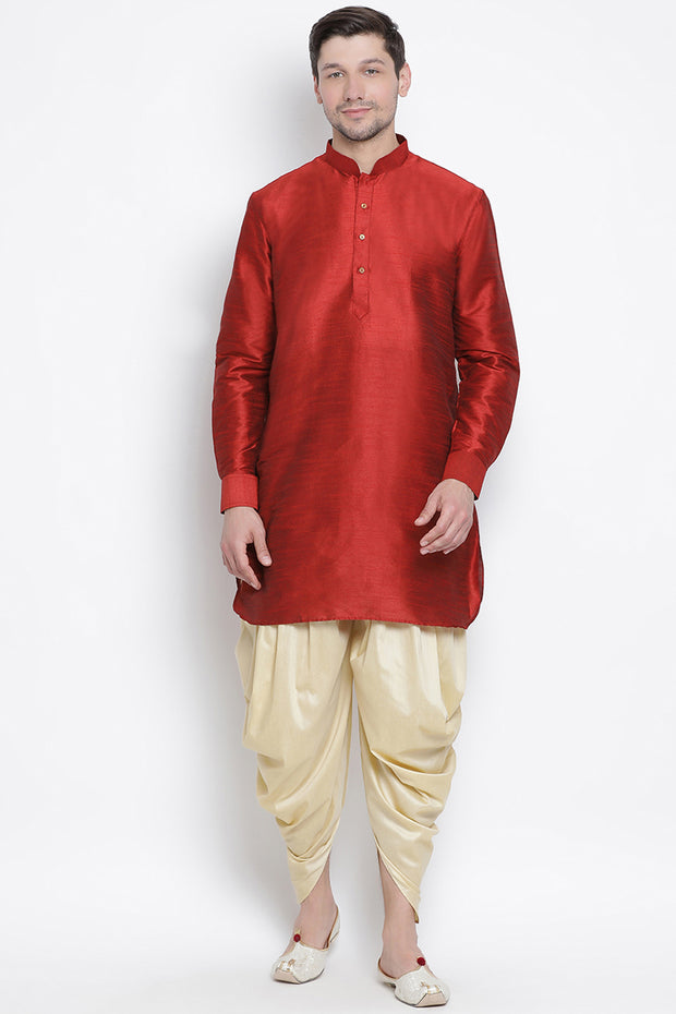 Men's Cotton Art Silk Kurta Set in Maroon