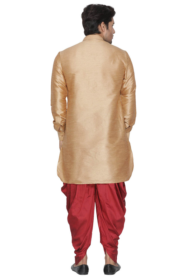 Men's Cotton Art Silk Kurta Set in Gold