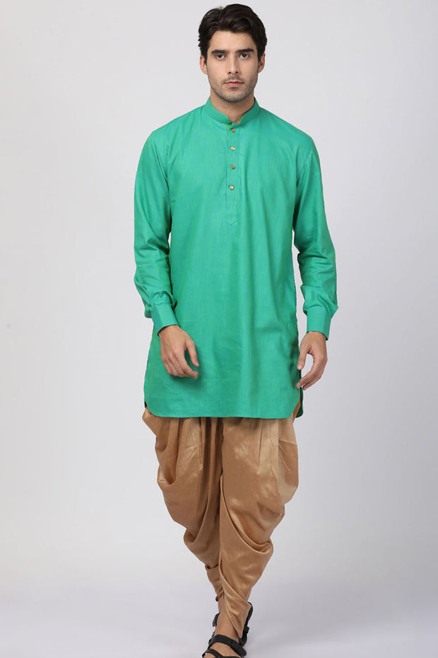 Men's Blended Cotton Kurta in Green