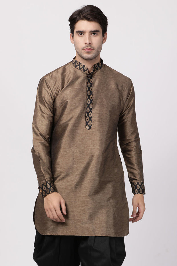 Men's Cotton Art Silk Kurta in Black