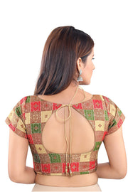 Jacquard Padded Blouse in Green and Multi