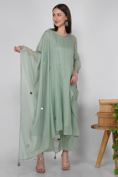 Kota Blended Cotton Dupatta in Green