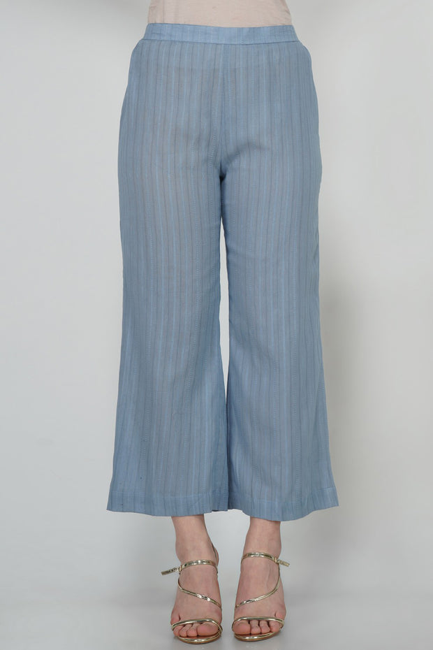 Leno Blended Cotton Pant in Blue