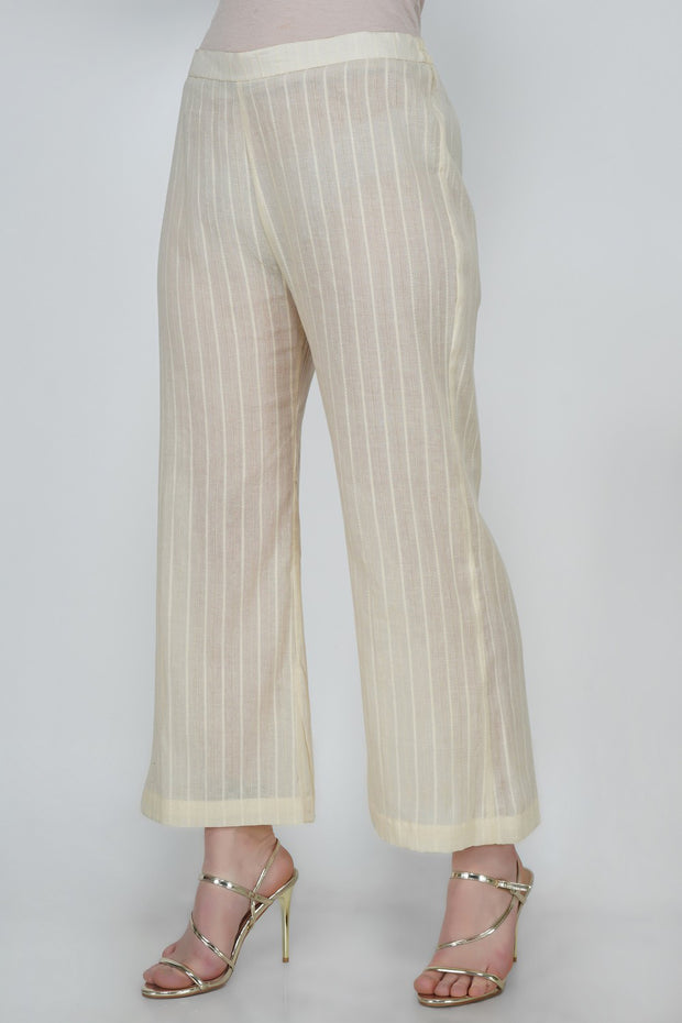 Leno Blended Cotton Pant in White