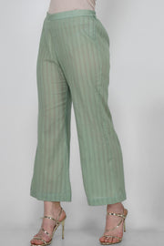 Leno Blended Cotton Pant in Green