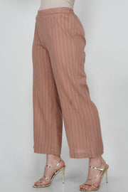 Leno Blended Cotton Pant in Brown