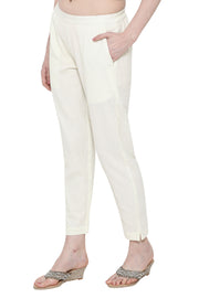 Blended Cotton Solid Pant in Cream
