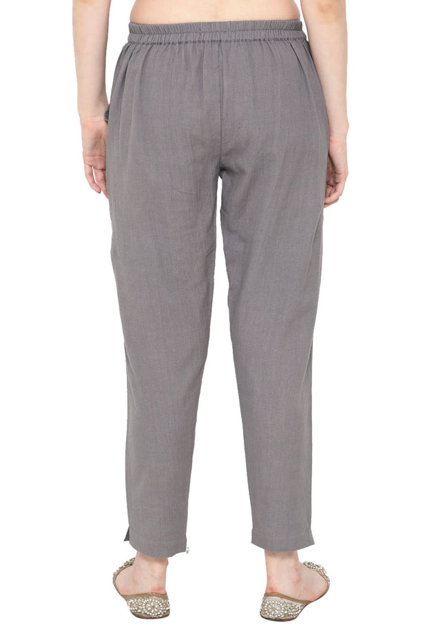 Blended Cotton Solid Pant in Grey