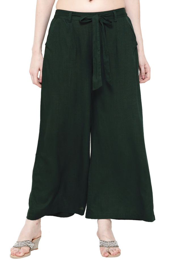 Rayon Solid Pant in Green