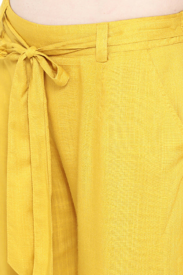 Rayon Solid Pant in Yellow