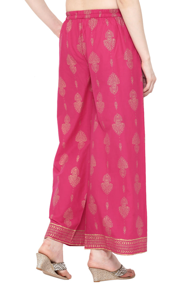 Pure Cotton Printed Palazzo in Pink