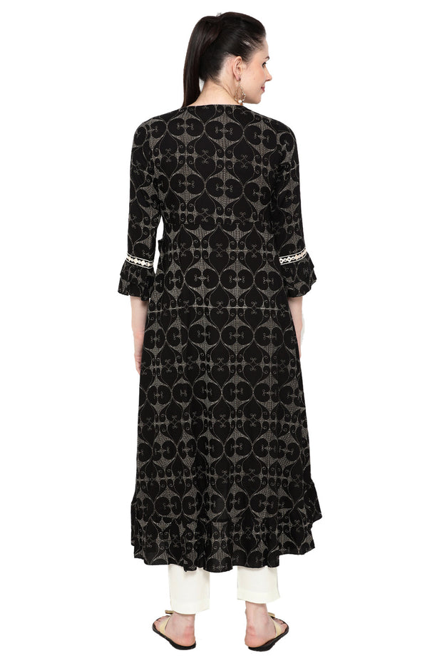Rayon Printed Kurta in Black
