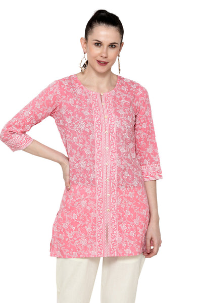 Pure Cotton Printed Kurta in Pink