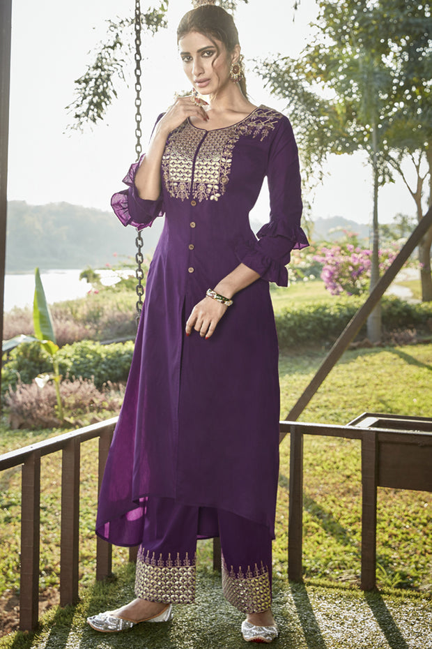 Art Silk Embroidered Kurta Set in Violet