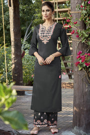 Art Silk Embroidered Kurta Set in Dark Grey