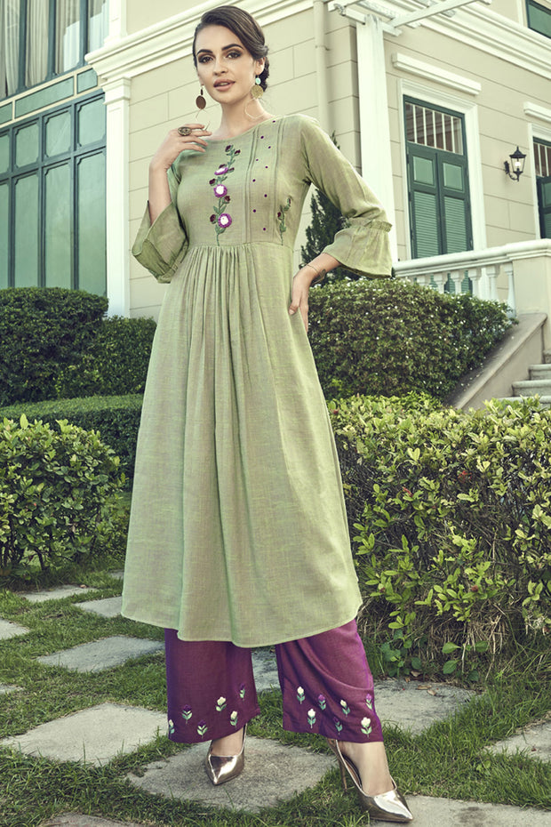 Blended Cotton Embroidered Top Set in Green