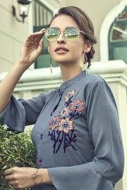 Blended Cotton Embroidered Top Set in Dark Grey