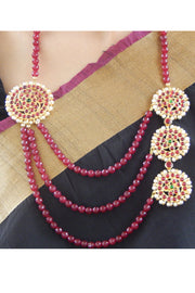 Women's Alloy Necklace Set in Gold and Maroon