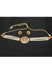 Women's Alloy Chocker Necklace Set in Gold and Red