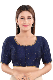 Art Silk Padded Blouse in Navy Blue