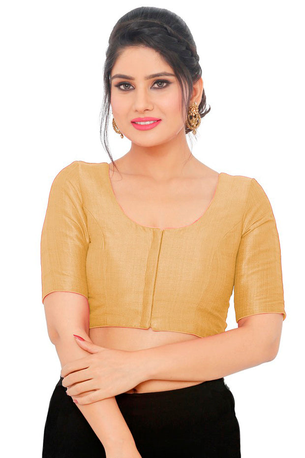 Art Silk Padded Blouse in Gold