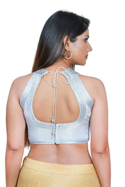 Jacquard Padded Blouse in Silver
