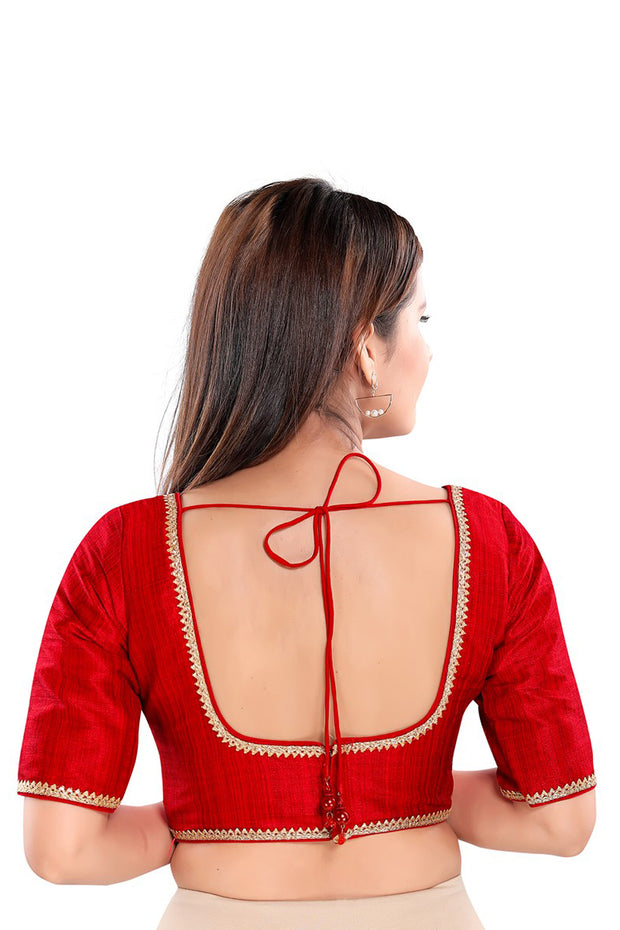 Art Silk Padded Blouse in Red