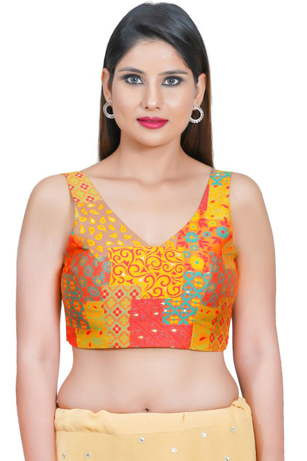 Jacquard Padded Blouse in Yellow