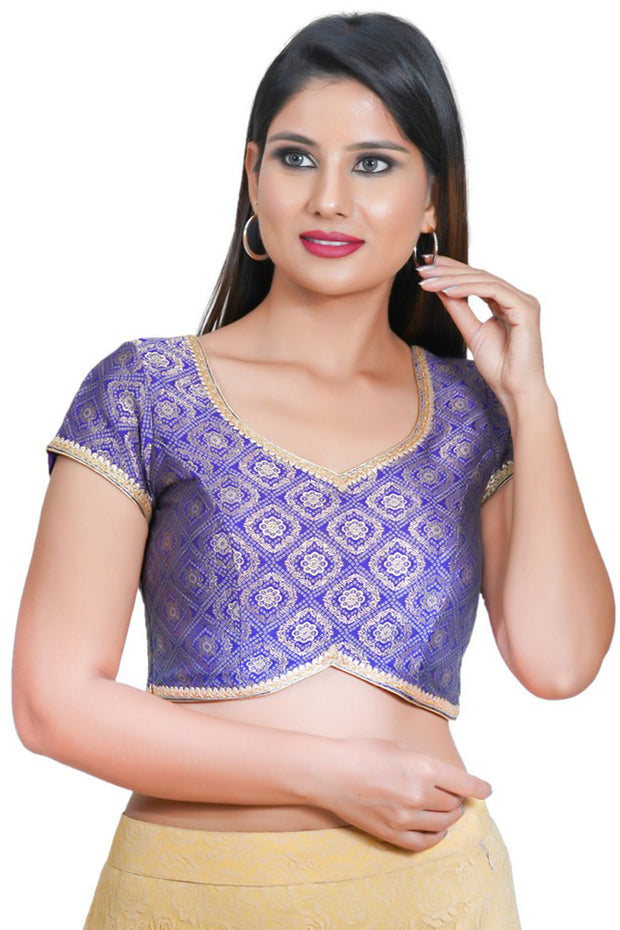 Jacquard Padded Blouse in Brinjal