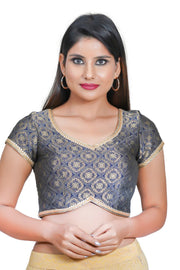 Jacquard Padded Blouse in Navy Blue