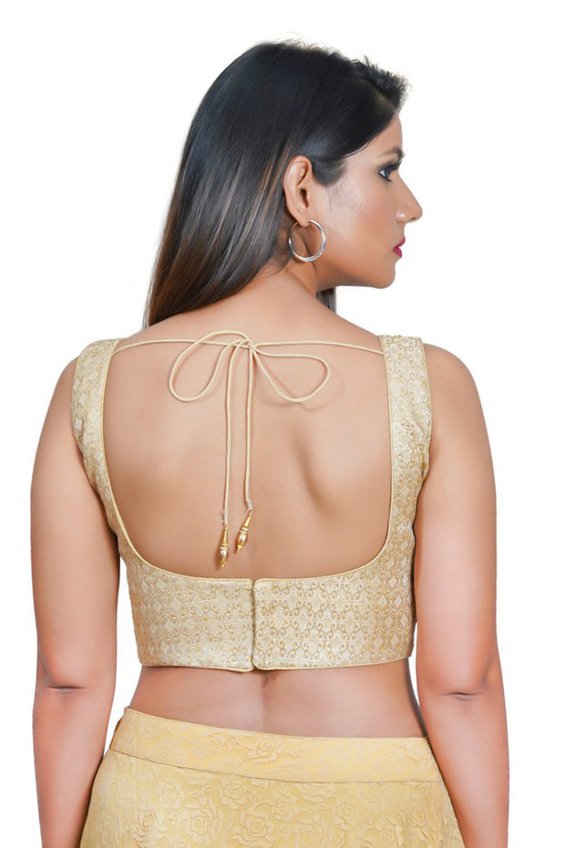 Jacquard Padded Blouse in Gold