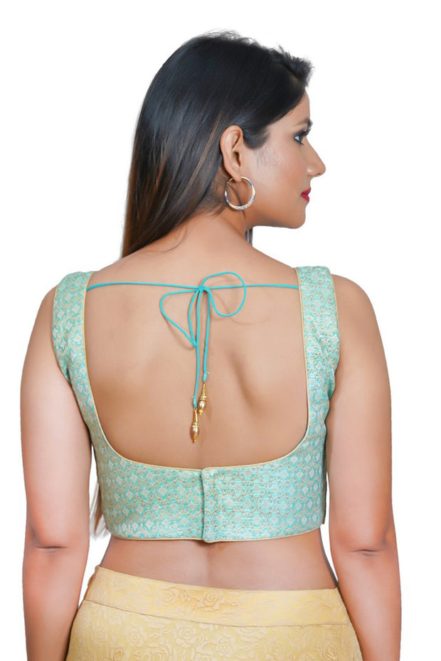 Jacquard Padded Blouse in Sea Green