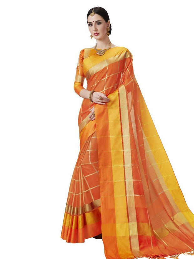 Women's Kota Doria Woven Saree in Orange