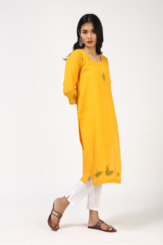 Blended Cotton Straight Kurta in Yellow