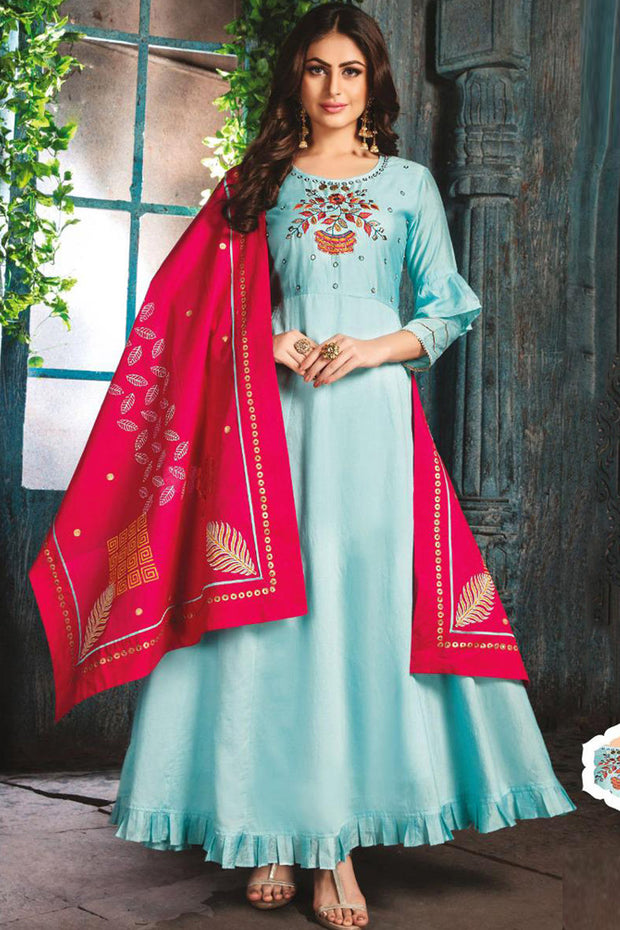 Chanderi Embroidered Top Set in Sky Blue