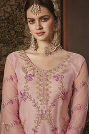 Net Embroidered Dress Material in Pink