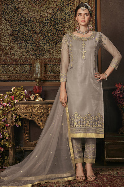 Net Embroidered Dress Material in Dark Grey