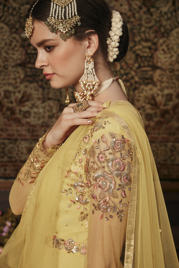 Net Embroidered Dress Material in Yellow