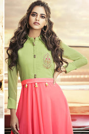 Georgette Embroidered Top in Green