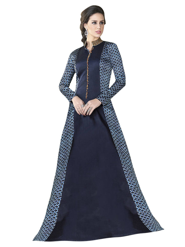 Stylee Lifestyle Satin Printed Gown in Navy