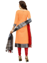 Stylee Lifestyle Women's Cotton Mirror Embroidered Dress Material in Orange