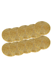 Beads Coaster Golden - Set of 10