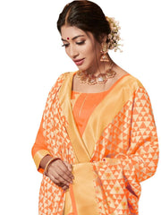 Stylee Lifestyle Women's Banarasi Jacquard Saree in Orange