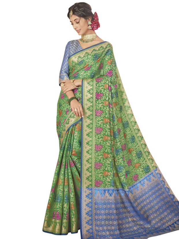 Stylee Lifestyle Women's Banarasi Saree in Green